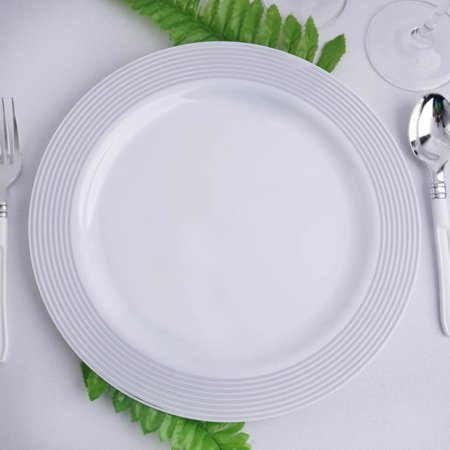 "Efavormart 20 Pack 10"" Striped Rim White Plastic Disposable Salad Dessert Plates For Wedding Banquet"