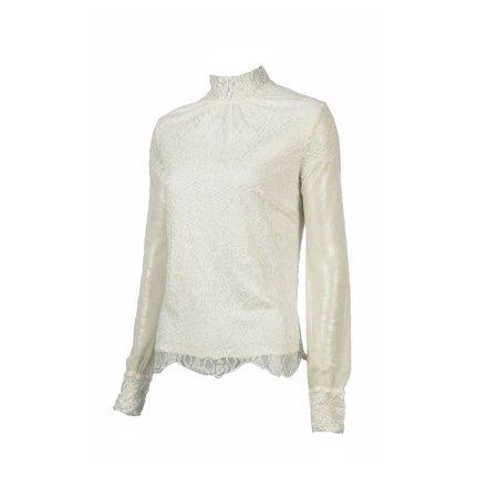 Ivory Lace Long Sleeve (Kay Celine Mock Neck Ivory Lace Top )