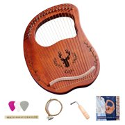 Anself 19-String Wooden Lyre Harp Resonance Box String Instrument with Tuning Wrench 3pcs Picks