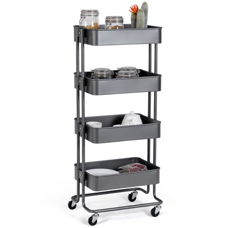 Gymax 4 Tier Metal Rolling Utility Cart Storage Mobile Organization