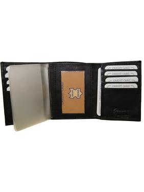 Improving Lifestyles Leather Mens Wallet Trifold Black FREE Organza Gift Bag SUN1105BK