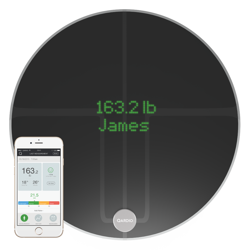 QardioBase 2 Wireless Smart Scale and Body Analyzer - Volcanic Black