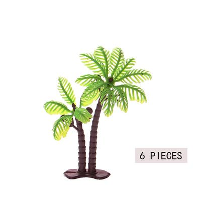 TURNTABLE LAB 6 Pieces Palm Tree with Coconuts Cake Topper Coconuts Tree Cupcake Topper for Cake Decorations or Building Model Landscape (6 Pcs/3 Size)](Coconut Decorations)