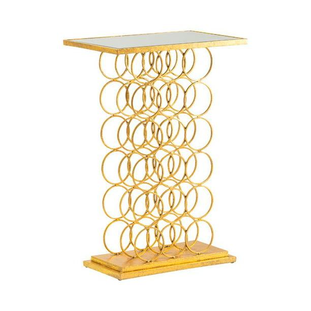 Melrose Wine Rack Console Table Gold Metal - Walmart.com - Walmart.com