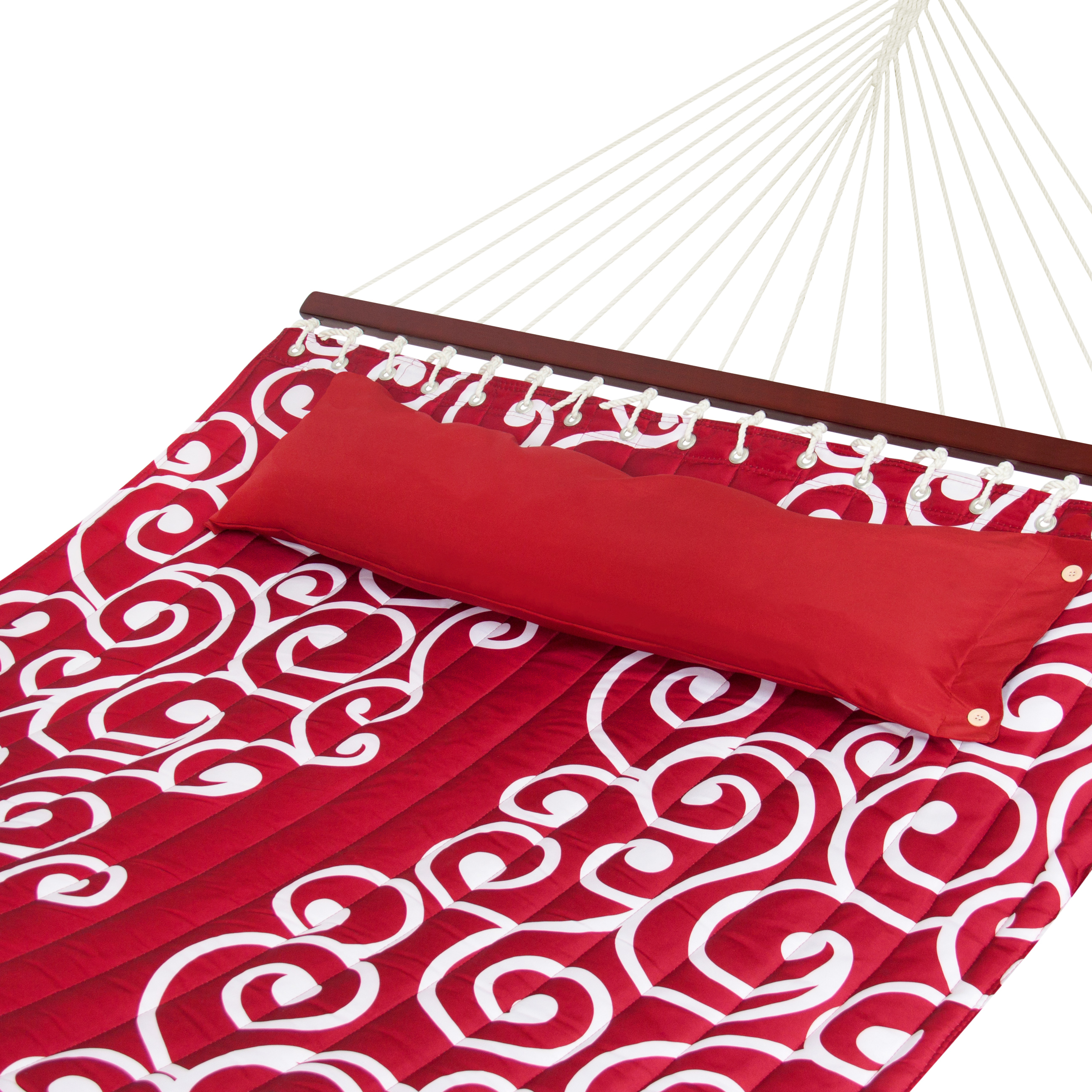 Best Choice Products Quilted Fabric Double Hammock W  Wood Spreader Bar- Red W  White... by