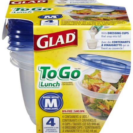 Glad Food Storage Containers - To Go Lunch Container - 32 oz - 4 Containers