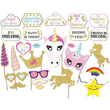 Glitter Gold Rainbow Unicorn Photo Booth Props On a Stick Girl Birthday Party Supplies- 26count
