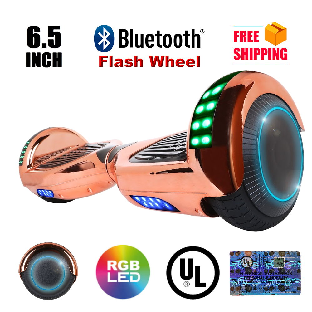 "UL 2272 Listed 6.5"" Hoverboard TOP LED Two-Wheel Self Balancing Scooter with Bluetooth Speaker New Chrome RoseGold"
