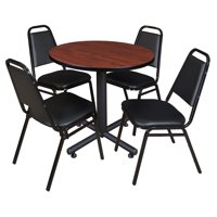 "Kobe 36"" Round Breakroom Table in Multiple Colors and 4 Black Restaurant Stack Chairs"