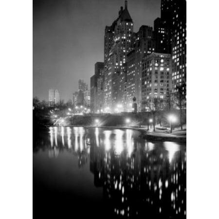 - USA New York City Night scene at Central Park Poster Print