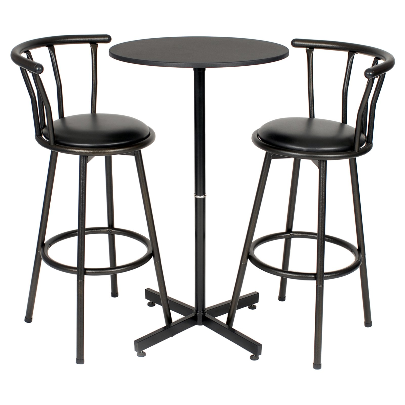 Roundhill Nor Hill 3 Piece Black Metal Height Bar Table Set With 2 Stools,