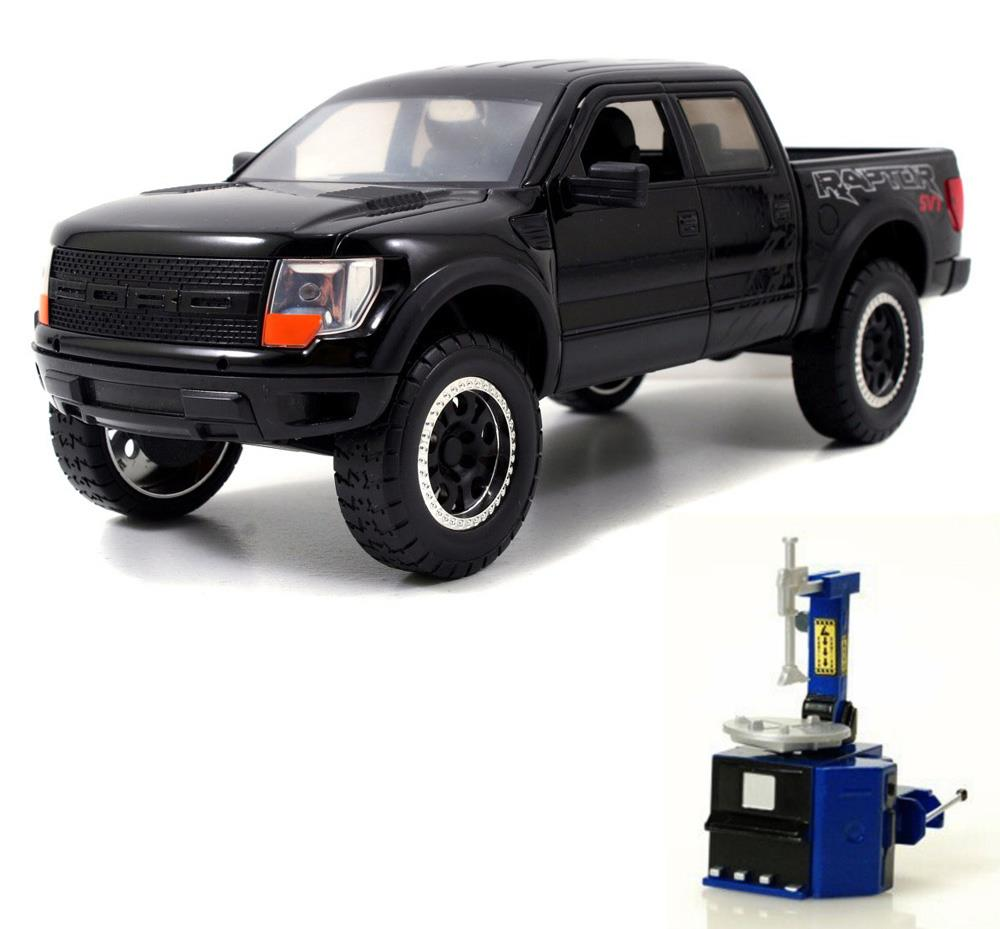 Diecast Car & Tire Station Package Ford F-150 SVT Raptor Pickup Truck, Black Jada Toys... by ModelToyCars