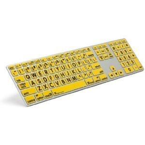 Logickeyboard Large Print Yellow on Black Slim Line PC Keyboard | Accurate Typing Large Printed Keyboard