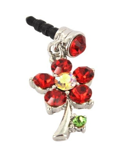 For Apple iPhone 4S 4 Galaxy S Cell Phones & MP3s Silver Flower Red Gems Universal 3.5mm Headphone Plug Charm by CellBatt