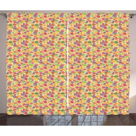 Fruits Curtains 2 Panels Set, Colorful Arrangement of Summer Season Healthy Sweets Cartoon Style Fruits Pattern, Window Drapes for Living Room Bedroom, 108W X 108L Inches, Multicolor, by