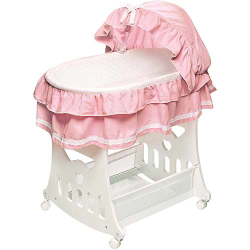 Badger Basket - Portable Bassinet with Toy Box Base and Pink Bedding