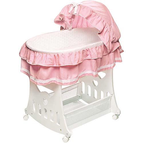 Badger Basket Portable Bassinet & Cradle with Toy Box Base, Pink Waffle Ruffled