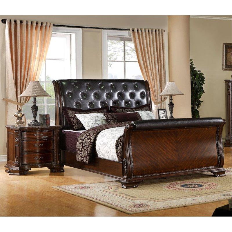 Furniture of America Hulga 2 Piece Queen  Sleigh Bedroom Set in Brown Cherry
