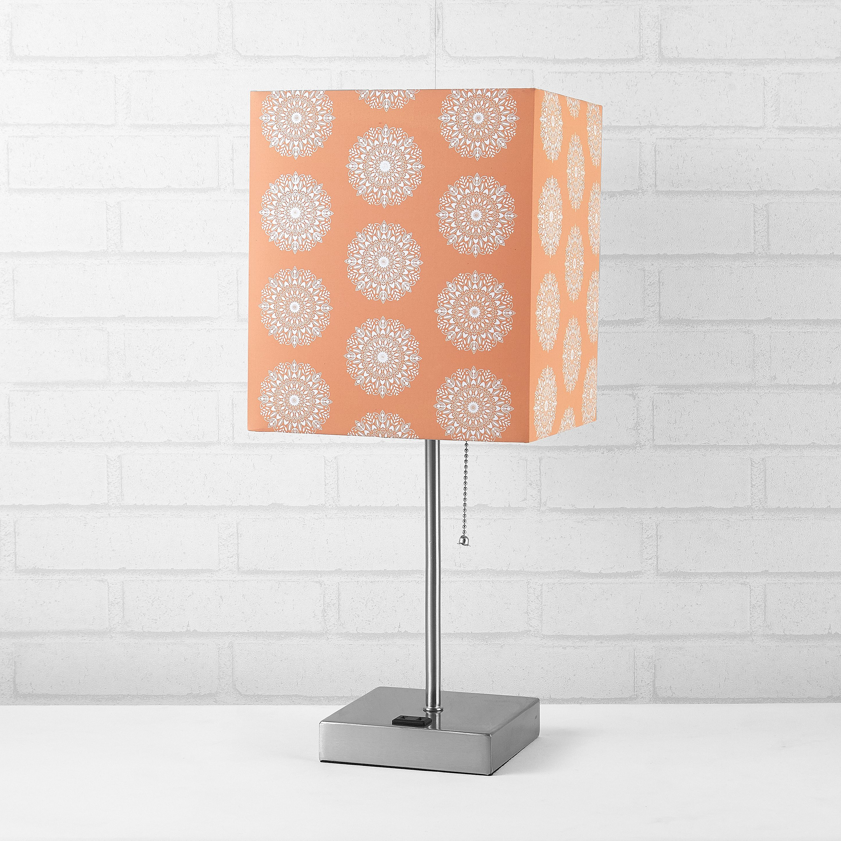 """Better Homes & Gardens Fabric Coral Shade With Metallic Silver Base- 18.5"""" H"""