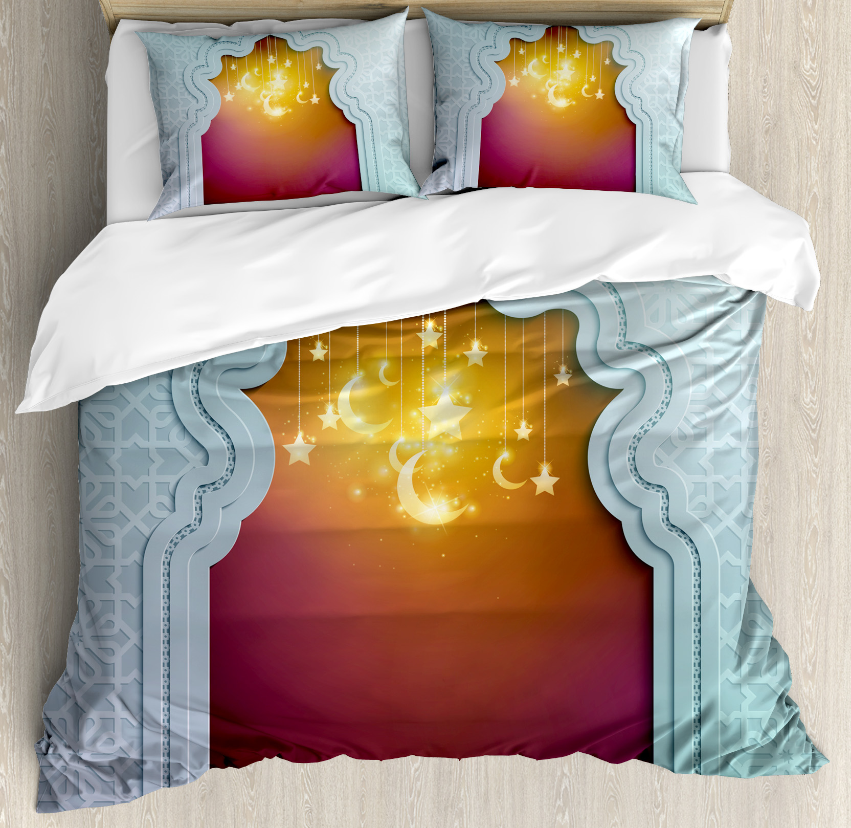 Moroccan Queen Size Duvet Cover Set, Mosque Door with Star and Moon Art Arabic... from Ramadan Decorations
