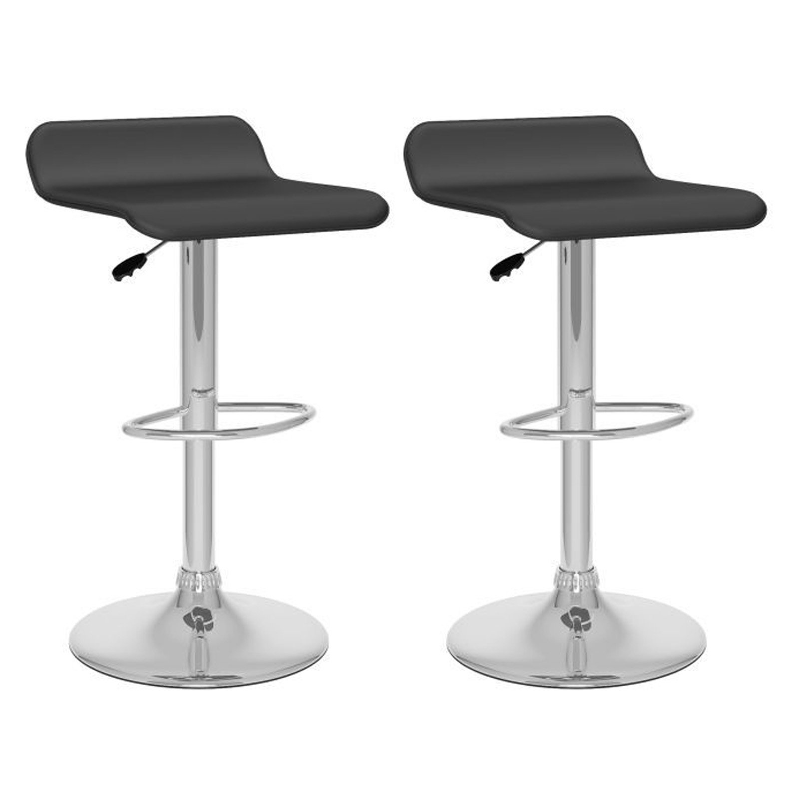 CorLiving Curved Adjustable Faux Leather Barstool, Set of 2