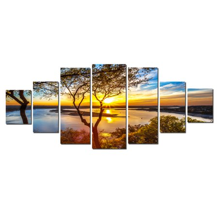Huge Original Art (Startonight Huge Canvas Wall Art Sunrise On The Lake, Home Decor, Dual View Surprise Artwork Modern Framed Wall Art Set of 7 Panels Total 39.37 x 94.49)