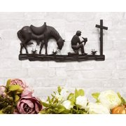 "Ebros Gift 21"" Wide Wild West Kneeling Cowboy with Horse in Solemn Prayer by The Cross Metal Aluminum Wall 3D Art Sign Plaque Inspirational Vintage Western Country Decor Sculpture"