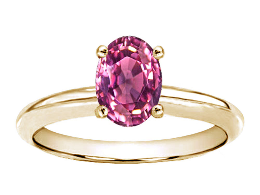 Tommaso Design Genuine Pink Tourmaline Oval 8x6mm Solitaire Engagement Ring by