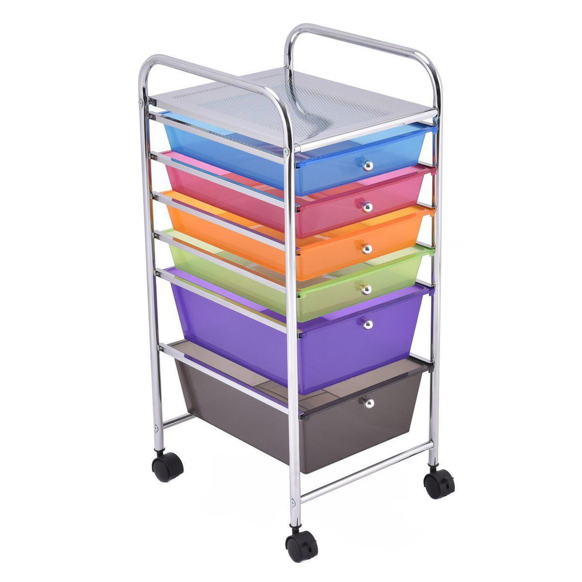 6 Drawer Rolling Storage Cart Tools Scrapbook Paper Offic...