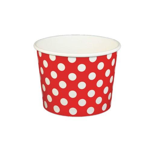 16 oz Frozen Yogurt Ice Cream Cups Polka Dot Red from Frozen Solutions
