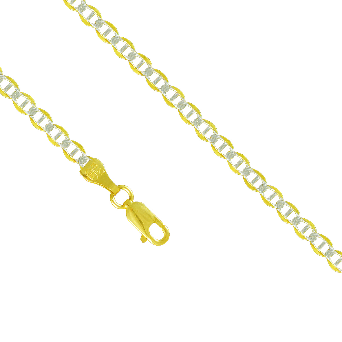 10K Yellow Gold 4.0mm Mariner Anchor Diamond Cut Pave Necklace Lobster Clasp (26 Inches) by Paradise Jewelers