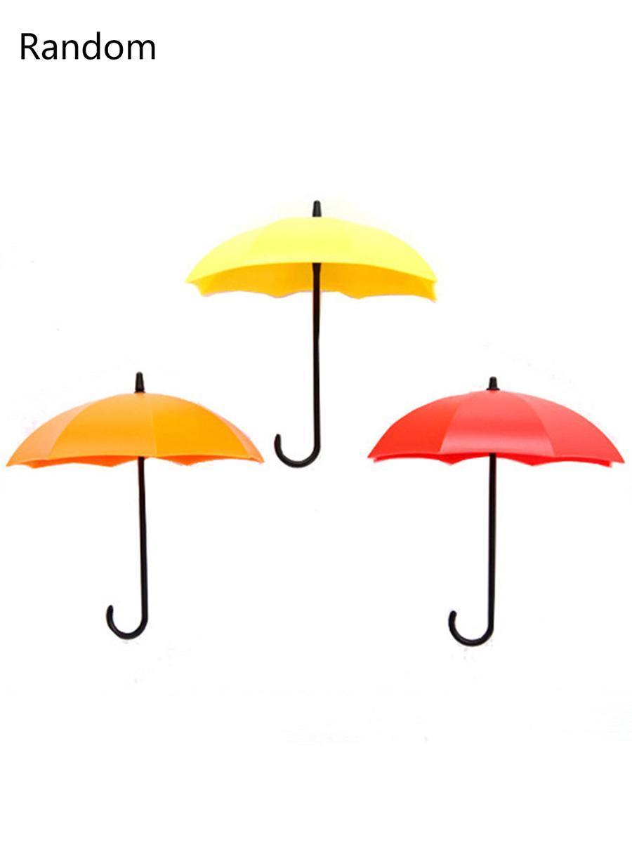 3pcs Lot Umbrella Shaped Creative Key Hanger Set Decor Holder Wall Hooks F Shape KMIMT by