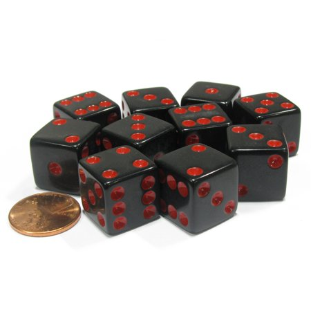 Koplow Games Set of 10 Six Sided Square Opaque 16mm D6 Dice - Black with Red Pip Die #01946