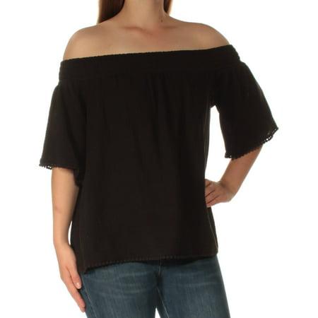 Ralph Lauren Womens Black Short Sleeve Off Shoulder Top Size: M
