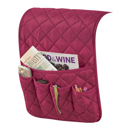 Quilted Organizer and Space Saving Armrest Cover with 1 Large and 4 Small Pockets, (Chocolate Pocket Organizer)