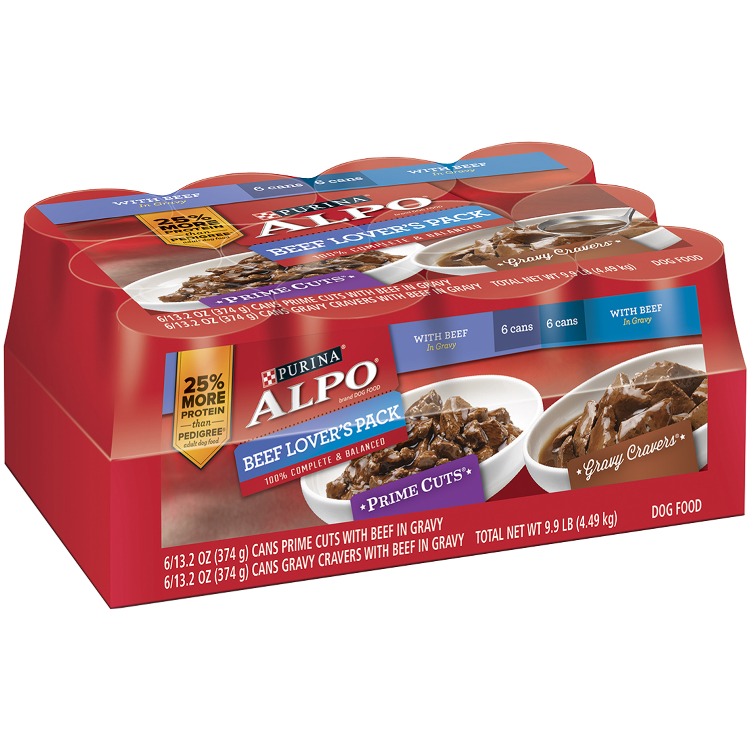 Purina ALPO Homestyle Beef Lover's Pack Canned Dog Food, 13.2 Oz (Case of 12)