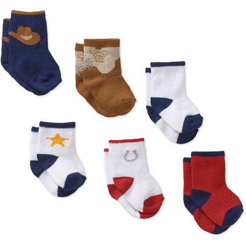 Growing Socks by Peds, Boys Infant, Cowboy, 6 Pairs
