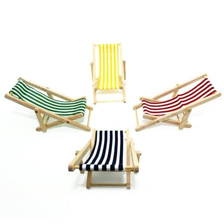 Heepo Stripes Mini Lounge Sand Chair Scene Model Doll House Accessories Miniature Toys