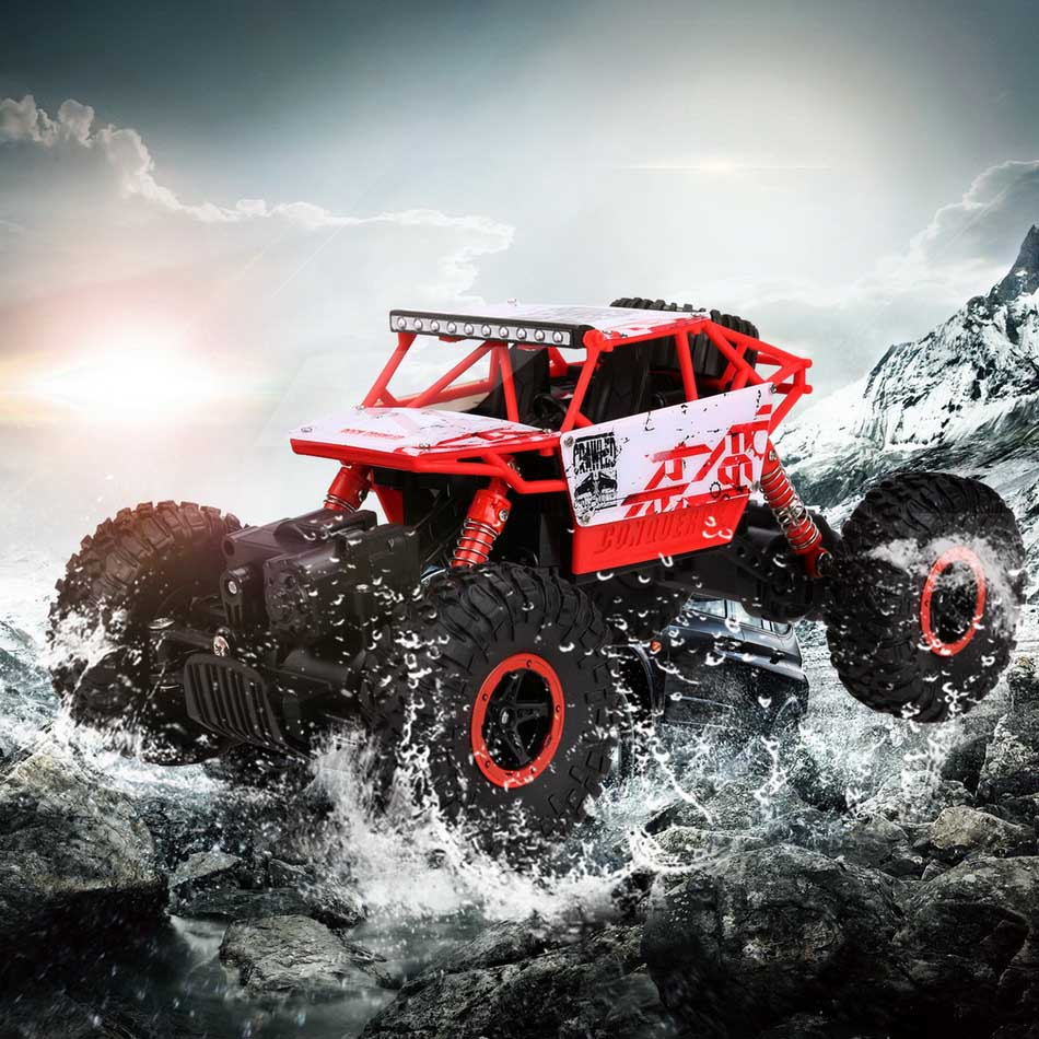 4WD Rock Crawlers Driving Car Drive Bigfoot Remote Control Off-Road Vehicle red