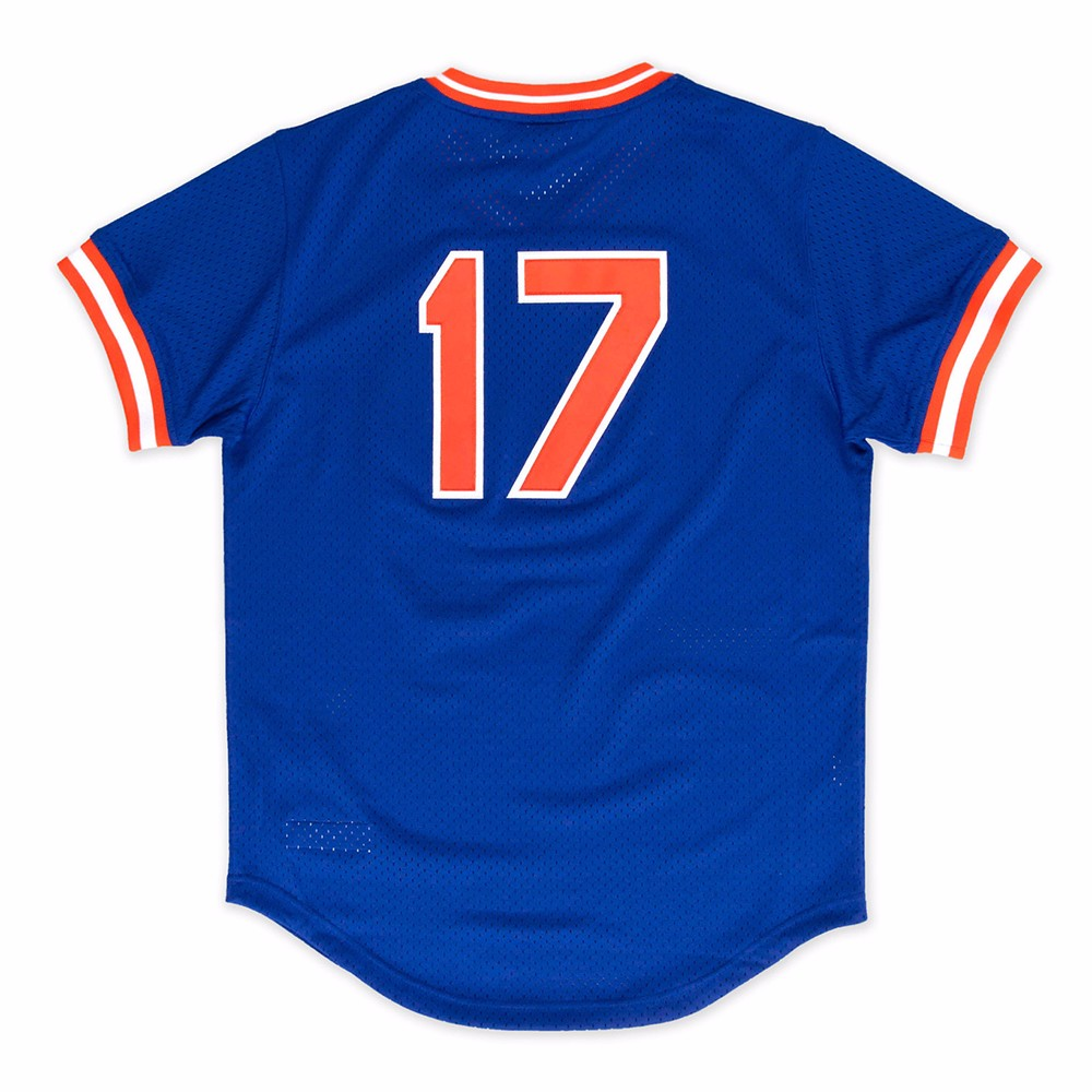 Keith Hernandez New York Mets MLB Mitchell & Ness Men's Blue 1986 Authentic Throwback Batting Practice Jersey