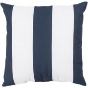 "18"" Navy Blue and Ivory Beach Striped Decorative Pillow Shell"