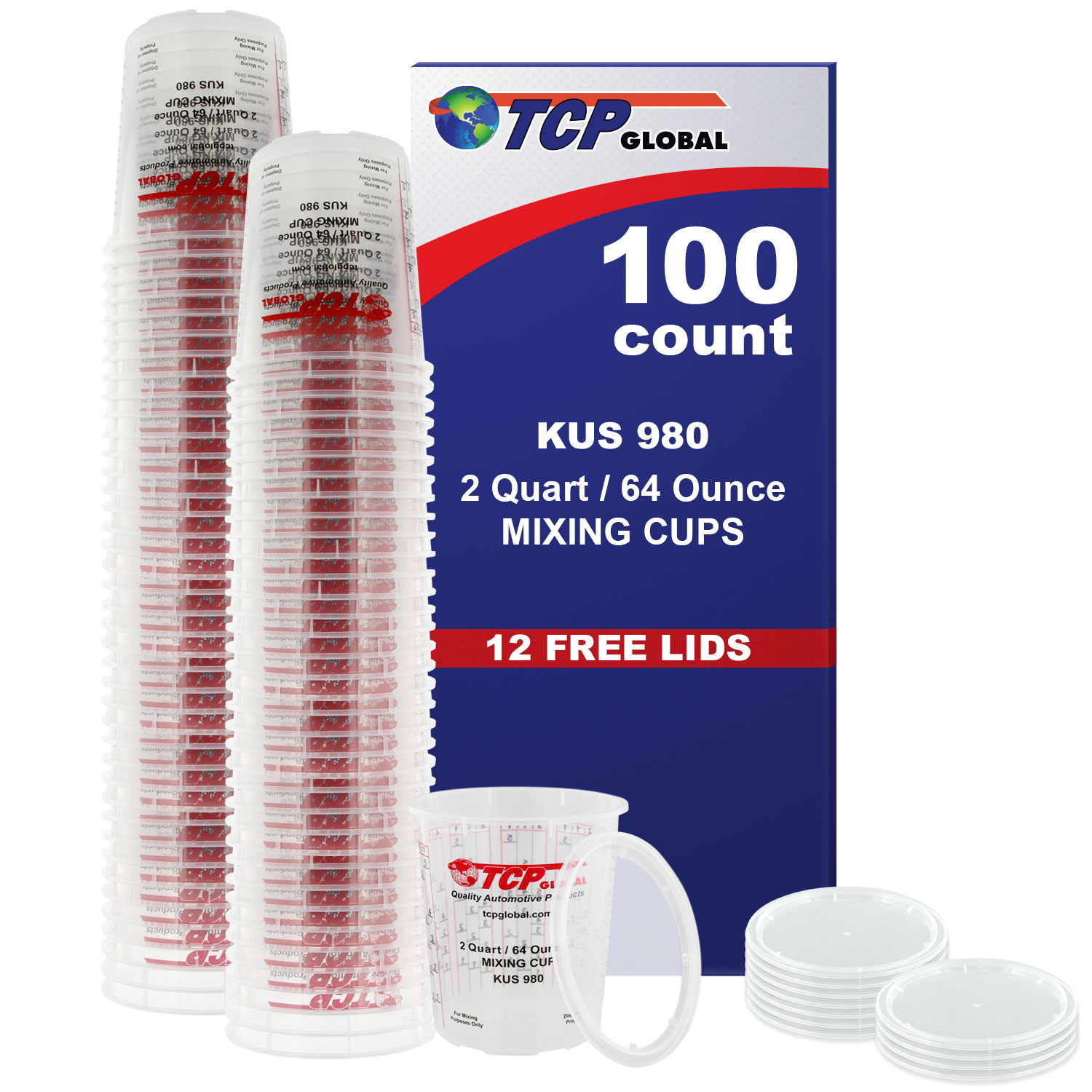 2 Quart Paint Mixing Cup, Measuring, Plastic (100/pack) Full Case - 12 Free Lids