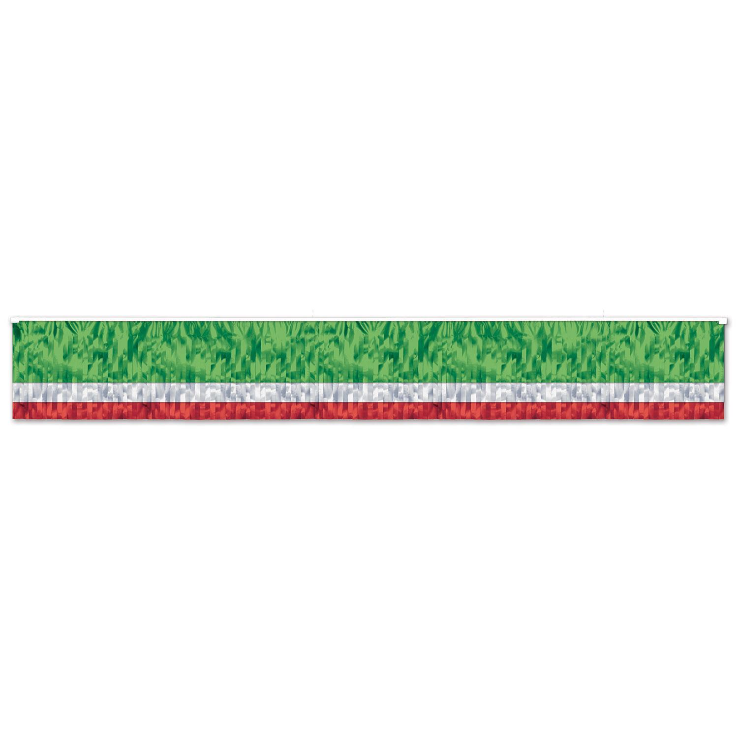 (Pack of 6) Beistle 3-Ply Flame Resistant Metallic Fringe Drape Red/White/Green