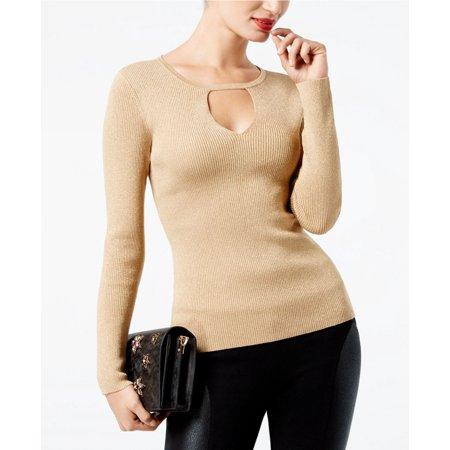 INC International Concepts Petite Cutout Sweater Gold PMD