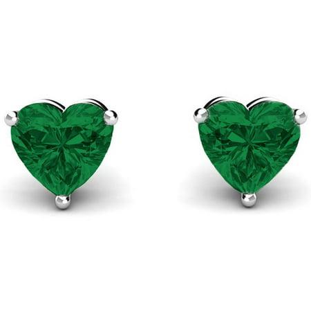 A&M Sterling Silver Heart Birthstone Earrings, Emerald