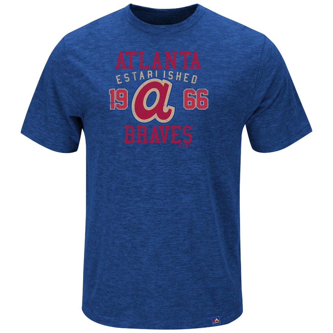 "Atlanta Braves Majestic MLB ""Heads Or Tails"" Cooperstown Hyper Slub S/S Shirt"
