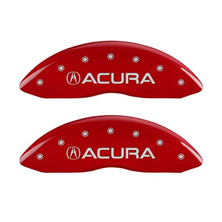 Set Of 4 Mgp Caliper Covers 39011Sacurd  Engraved Front And Rear  Acura  Red Powder Coat Finish  Silver Characters