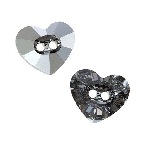 Swarovski Crystal   3023 Heart Sew On Stone Buttons 14X12mm  1 Piece  Crystal Silver Night