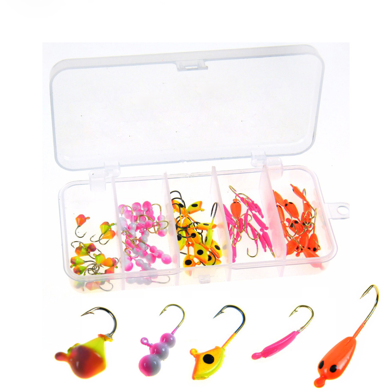 70Pcs HKFISH 0.75g-1.24g Random Style Ice Fishing Ant Drop Jig Head Single Hooks Fishing... by Ice Fishing Supplies