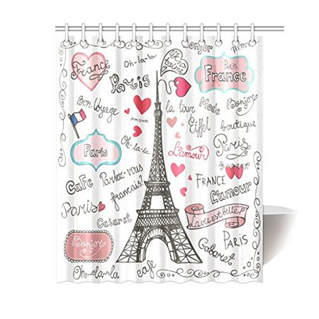 Mypop Paris Eiffel Tower Symbols Lettering Quotes Heart Shapes Flag